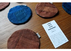 Persimmon & indigo-dyed coaster
