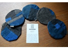 Indigo & persimmon-dyed coaster