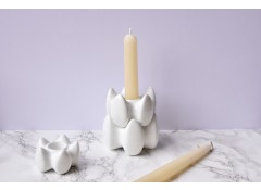 SML white porcelain candle holders