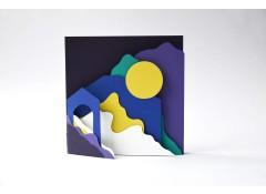 Scenery 2 square zine card - Black