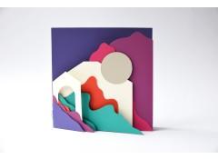 Scenery 2 square zine card - Purple