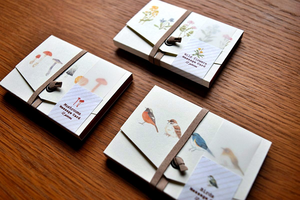Illustrated botanical/birds card set